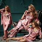 New Red/Grey silk Blend 3pcs Women Floral Sleepwear Pajama Sets M/L/XL/XXL/XXXL