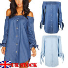 NEW WOMENS LADIES OFF THE SHOULDER BARDOT BUTTON DENIM LOOK SHIRT DRESS TOP 8-16