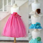 Lovely Ivory coral mint green turquoise fuchsia pink flower girl party dress