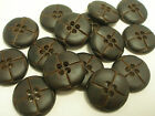 New 12 Faux plastic Leather Brown Buttons 1 inch 7/8 13/16 5/8 & Blazer sets #F2
