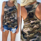 Womens Fashion Camouflage Sleeveless Shirt Vest Slim Casual Tank Tops Blouse