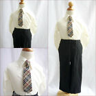 Adorable Ivory boy long sleeve formal dress shirt with matching tie all sizes