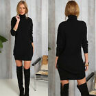 Women Fashion Black Winter Straight Turtleneck Casual Evening Party Mini Dress A