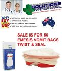 VOMIT BAGS  SICK FIRST AID EMESIS RED RING TWIST & SEAL HIGH QUALITY BEST PRICE