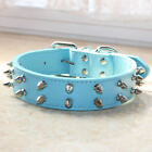Leather 2 Rows Spiked Studded Dog Collar for Pitbull Terrier Medium Large Breed