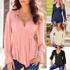 Plus Size Ladies Women Sexy Lace Up Blouse Long Sleeve T-Shirt Casual Loose Tops