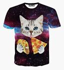 Little Cat eating Pizza Galaxy Space 3D Funny Women Men T-shirt Hiphop Top Tee