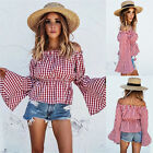 Vintage Women Fashion Shoulder off Plaid Red Tunic Flare Sleeve Blouse Shirt A
