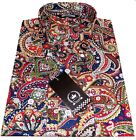 Relco Men's Navy Blue Paisley Long Sleeved Button Down Shirt 60's Mod's