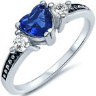 925 Sterling Silver Heart Love Blue Sapphire Clear CZ Promise Ring Size 3-12