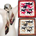 100% Silk Scarf China silk Women's Scarves Galloping horses Wrap Shawl Red Black