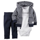 3PCS Set Newborn Baby Boy Tops Romper +Long Pants Cardigan Outfits Clothes 0-18M