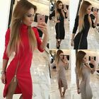 Fashion Autumn Winter Elegant Womens 3/4 Sleeve Highneck Midi Dress Slit Dress