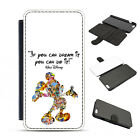 Leather Mickey Mouse Quote Walt Disney Characters Dream Phone Cover Case