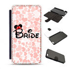 Leather Disney Bride Wedding Gift Day Hearts Love Minnie Phone Cover Case