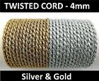 Twisted Braid Cord Soutache  – 4 mm wide Metallic Gold & Silver  (F)