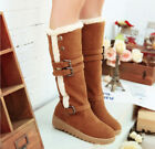 Womens round toe platform buckle knee high pull on snow boots warm shoes Q577