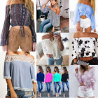 Women's Ladies Loose Off Shoulder Long Sleeve Tops T-shirt Blouse Shirt Tee NEW