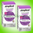 2x Simplicol Textilfarbe intensiv All-in-1, 150ml + 400g, Echtfarbe f 600g Stoff