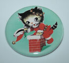 CHRISTMAS PIN BUTTON Poodle Reindeer Cat Dog Puppy Kitten Mice Vintage Art