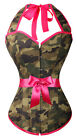 -Sexy Pin-Up Camouflage Halter Burlesque Green corset Top Size S-6XL CM A3024_g