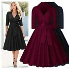 Women Vintage Pinup Belt Cocktail Party Proms Draped Skirt Wiggle A-Line Dress