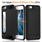 Card Pocket Wallet Shockproof Hybrid Armor Case Cover For Apple iPhone 7 / 7Plus