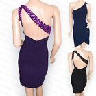 Elegant Bead Backless One Shoulder Evening Party Dress