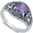 925 Sterling Silver 3 Stone  Amethyst CZ Floral Marcasite Band Ring Size 3-11