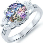Sterling Silver Shiny Colorful 3 Stone CZ Engagement Wedding Love Ring Size 3-11