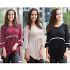 New Stylish Ladies'Sexy 3/4 Sleeve O Neck Flare Sleeve Plus Size Loose T-Shirt A