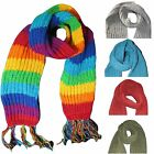 Mens Womens 100% Wool Scarf Thick Knitted Long Cosy Winter Present Ski Warm