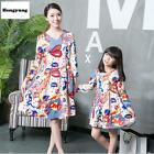 Mother Daughter Dresses Long Sleeve Fashion Print Dress Family Matching Clothing