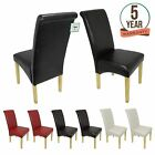 Premium Faux Leather Dining Chairs Roll Top Scroll High Back Wood Furniture Set
