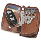 Genuine Leather Key Case Double Layer Zippered Car Key Holder Wallet Coin Pouch