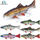 "6"" Swimbait 3-Jointed Hard Bait  Sinking Bass Fishing Lure with VMC Treble Hook"