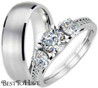 HIS And HERS TITANIUM / 925 STERLING SILVER WEDDING ENGAGEMENT RING BAND SET