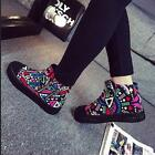 2 Color Graffiti Womens Canvas Sneaker Punk Flat Tall Lace Up Breathable Vintage