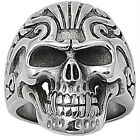 Stainless Steel Angry Smiling Skull Face Biker Tribal Tattoo Band Ring Size 6-20
