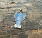 925 Silver Necklace & Carved Stone Angel Pendant 18 Choices Reiki Healing Gift