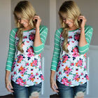 Stylish Ladies' Long Sleeve Floral Printed Striped Patchwork Crew Neck Shirts A