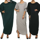 Vintage Tops Women's Loose Batwing Long Sleeve Cotton Linen Party Maxi Dress NEW