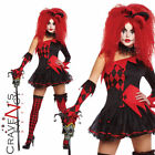 Ladies Jesterina Harlequin Clown Costume Halloween Jester Womens Fancy Dress