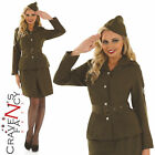40s WW2 Army Girl Costume Soldier Uniform Ladies Womens Fancy Dress Outfit 8-26