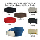 """1"""" Kids Canvas Military Web Belt, 21 Colors, 3 Finishes  4 Sizes FREE SHIPPING"""
