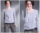 Fashion Womens V-neck Cashmere Knitted Sweater Slim Coat Bottoming Shirt S-XXXL