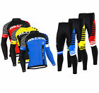 FDX Mens Blaze Cycling Jersey Cold Wear Thermal Top + Cycling Tights Pants  Set