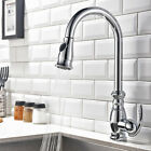 Traditional Goose Neck Single Handle Tap Kitchen Sink Faucet with Pullout Spray