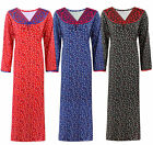LADIES 100% COTTON LONG NIGHTDRESS NIGHTY CHEMISE EMBROIDERY DETAILED SIZE 8-24