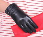 Women's Genuine Leather Touch Screen Warm Wrist Gloves 3 buttons Fleece Lining
